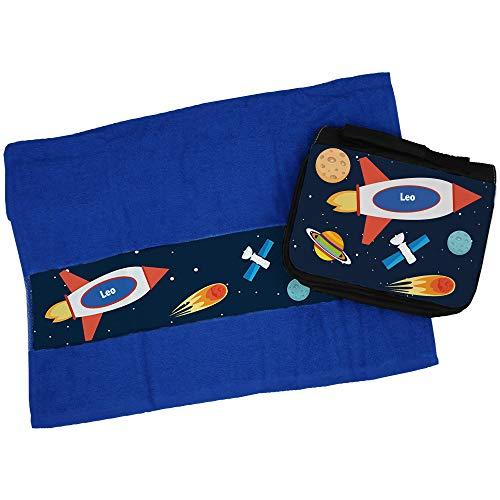 Eurofoto Handtuch + Kulturbeutel Set mit Namen Leo und Weltraum-Motiv für Jungen | Handtuch und Kulturbeutel Bedruckt |