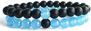 Bead bracelet His and Her Couple Distance Bracelets Healing Energy Balance Stone Bracelets Blue and Black