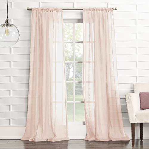 "No. 918 Tayla Crushed Texture Semi-Sheer Rod Pocket Curtain Panel, 50"" x 84"", Blush Pink"