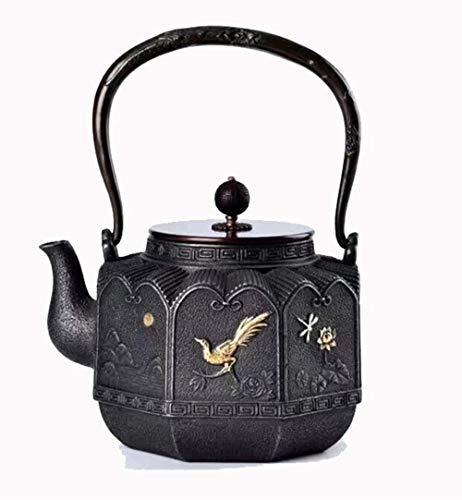 Tetera clásica de hierro fundido, tetera de cocina de hierro fundido, 1600 ml, taza de té Tetsubin