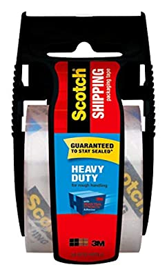 """Scotch Heavy Duty Shipping Packaging Tape, 1 Roll with Dispenser, 1.88"""" x 19.4 Yards, 1.5"""" Core, Great for Packing, Shipping & Moving, Clear (142-700-H)"""