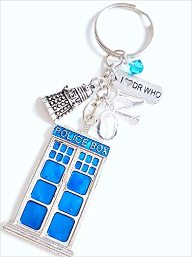 Handmade Personalised Initial Dr Who Police Box Charm Keyring Key Chain with Turquoise Bead