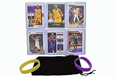 Los Angeles Lakers Cards: Lebron James, Anthony Davis, Kyle Kuzma, Kobe Bryant, Danny Green, Dwight Howard ASSORTED Trading Cards and Wristbands Bundle