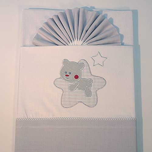 10XDIEZ Juego de sábanas cuna franela star blanco/gris | (Cuna - 60x120 cm - Gris)