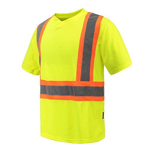 Phrmovs Class 2 Safety Tee Max-Dri Moisture Wicking T Shirt Yellow Hi Vis