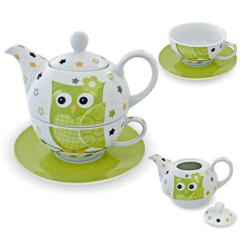 "G. Wurm GmbH + Co. KG Porzellan-Tee-Set ""Tea for One"" Teeservice mit Teekanne, Tasse, Untertasse..."