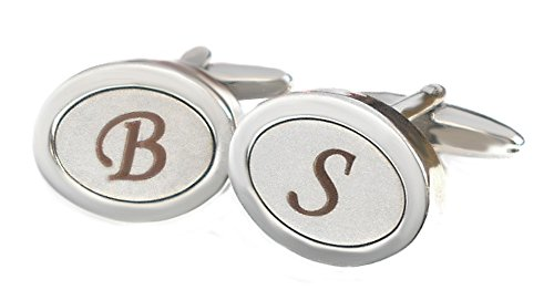 Unbekannt Manschettenknöpfe Monogramm B, D, E, F, G, H, I, L, N, O, P, Q, R, U,V, W, X, Y, Z silbern glänzend satiniert + Box