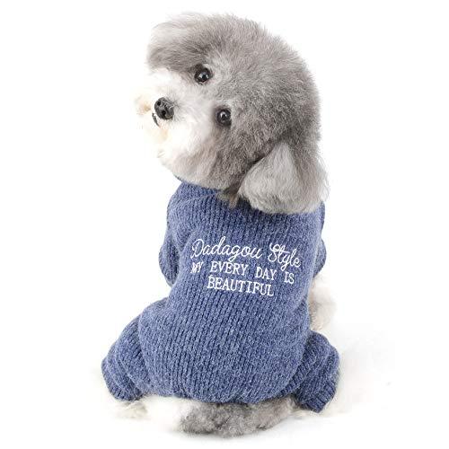 Ranphy Kleiner Hundepullover Mädchen Junge Welpe Winterkleidung Strickmantel Dickes Vlies Gefüttert Warm Rollkragenpullover für Kaltes Wetter Pjs Haustierbekleidung Blau XL