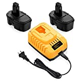 Powerextra 2Pack DC9096 Replacement Battery Compatible with Dewalt 18V XRP DC9099 DC9098 DW9099 DW9098 18Volt Batteries + DC9310 Charger for Dewalt 7.2-18V Ni-Cad Ni-Mh 18V Battery Charger