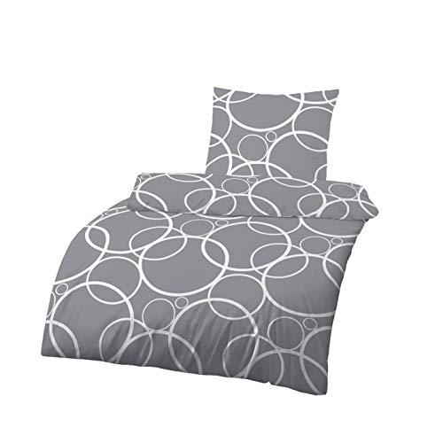Träumschön Renforce Bettwäsche 135x200 Grau | Grafik Kreis Design | Bettbezug 135x200 & Kissenbezug 80x80 | Tolle Sommerbettwäsche