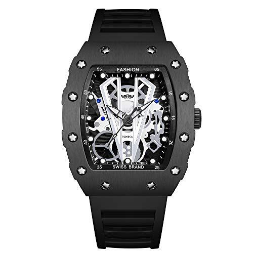 OLMECA Mens Sports Luxury Fashion Dress Casual Quartz Watches Waterproof Luminous Quartz Wristwatches for Men Stainless Steel Tonneau Rectangle Case Silicone Band Black Color