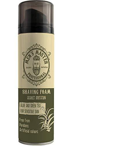 Espuma hidratante de afeitar para piel sensible con Aloe Vera y Té Verde, 200 ml de Men's Master