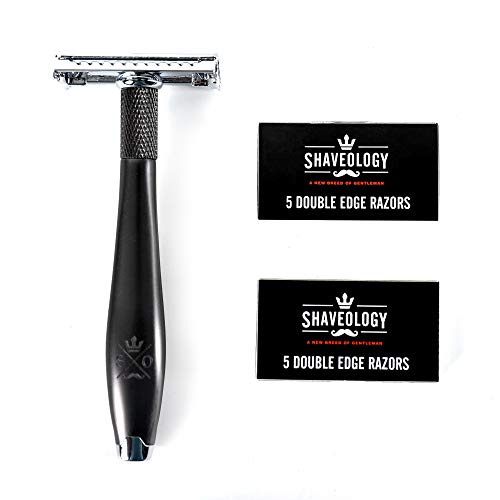 Double Edge Safety Razor Kit - Butterfly Safety Razors for men + 10 Platinum...