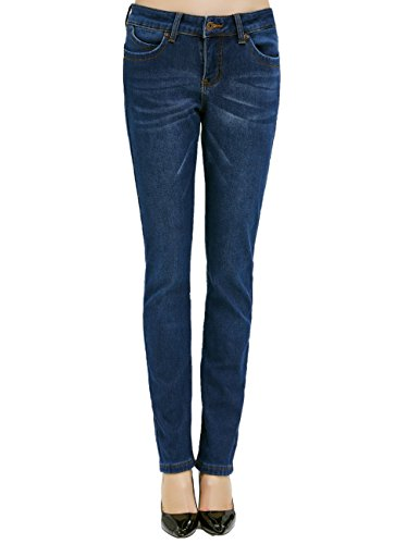 Camii Mia Damen Jeanshose Fleece Gefüttert Slim Fit Dicke Winter Thermohose Low Rise Jeans (26W x 30L, Blau (DG847-1))