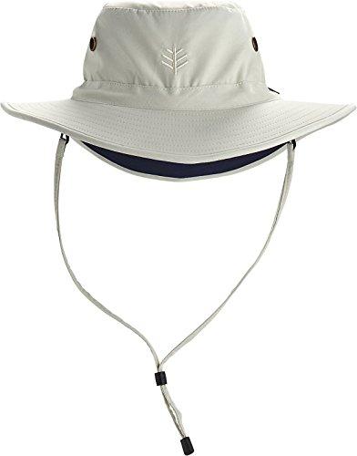 Coolibar UPF 50+ Men's Leo Shapeable Wide Brim Hat – Sun Protective (Large/X-Large- Stone/Navy)