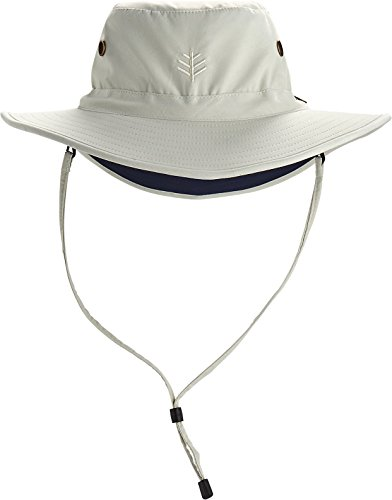 Coolibar UPF 50+ Men's Leo Shapeable Wide Brim Hat - Sun Protective (XX-Large- Stone/Navy)