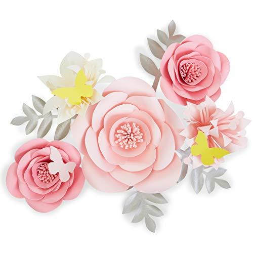 Flores de papel 3D, color rosa para decoración de pared (12 piezas)