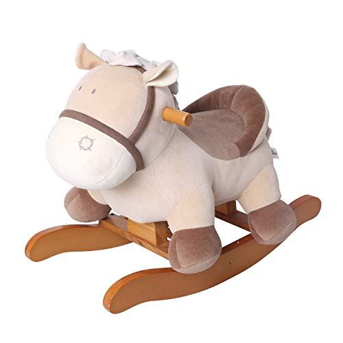 labebe Cavallo a Dondolo per Bambini - Asino Cachi, in Legno con Imbottitura in Stoffa, Animale a Dondolo Giochi Infanzia