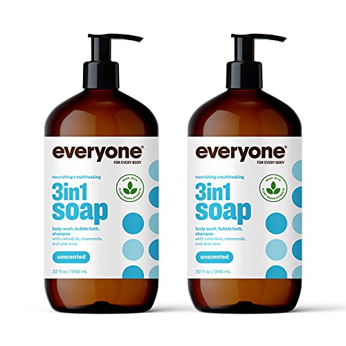 Everyone 3-in-1 Soap, Body Wash, Bubble Bath, Shampoo, 32 Ounce (Pack of 2), Unscented, Coconut Cleanser with Organic Plant Extracts and Pure Essential Oils