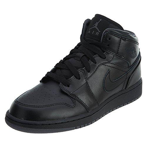 Nike Nike Jungen Air Jordan 1 MID BG Fitnessschuhe, Schwarz/Dunkelgrau, 36 EU