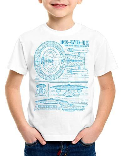 style3 NC-1701-D Cianotipo Camiseta para Niños T-Shirt Fotocalco Azul Trek Trekkie Star, Color:Blanco, Talla:128
