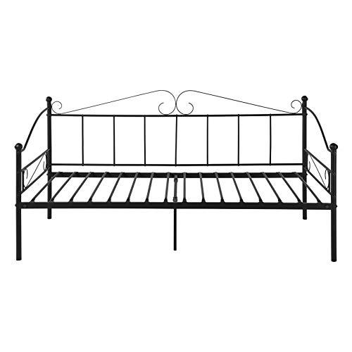 EGGREE Cama Sofa Metálica, Estructura Cama Individual de Metal Nordico, 90 x 190 cm - Negro