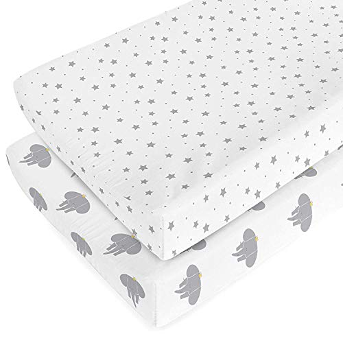 Changing Pad Cover Set - 100% Organic Jersey Cotton - 2 Pack Unisex Design Gray and White - Best Baby Shower Gift Perfect for Bassinet Sheets for Boy or Girl 16X32 - by My Little North Star