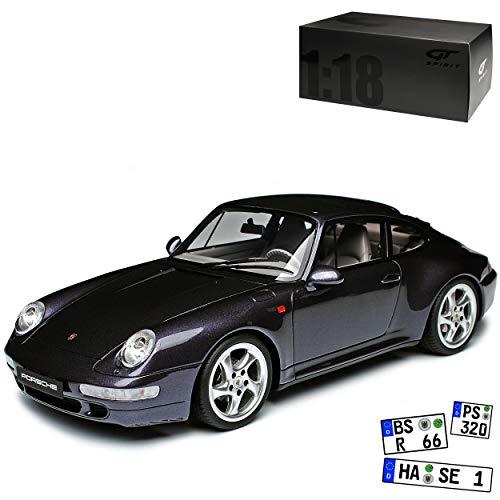 GT Spirit Porsche 911 993 Carrera 4S Split Grill Violett Schwarz 1993-1998 Nr 767 1/18 Modell Auto mit individiuellem Wunschkennzeichen