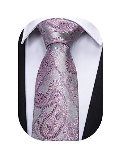 Barry.Wang Designer Cravatta da uomo con gemelli quadrati in seta con motivo cachemire Argento rosa 5058. Taglia unica