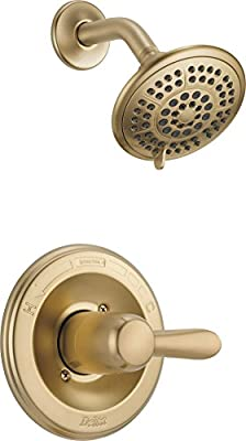 Delta Faucet Lahara 14 Series Single-Handle Shower Faucet, Shower Trim Kit with 5-Spray Touch-Clean Shower Head, Champagne Bronze T14238-CZ (Valve Not Included)