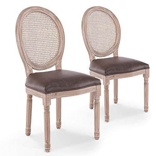 INTENSEDECO Lot de 2 chaises médaillon Louis XVI Cannage Rotin Vintage