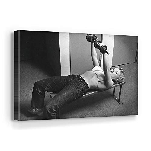 Marilyn Monroe - Fitness at The Gym Wall Canvas Art Home Decor (36in x 24in Gallery Wrapped)