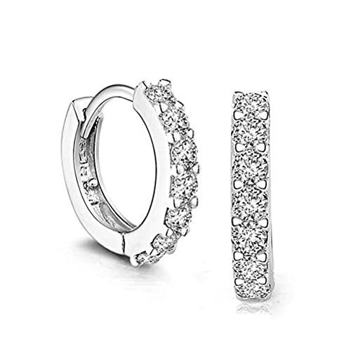 Evazory - Pendientes de aro para mujer, plata de ley 925, pendientes brillantes para mujer, pendientes de aro de diamante