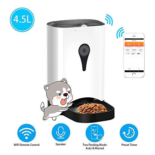 YUNVJIG Automatischer Futterautomat Für Katzenhunde Smart Food Dispenser Mit WiFi-Fernbedienung App Für Android IOS-System Sprachaufzeichnung Voreingestellter Timer Programmierbar 4 5 L