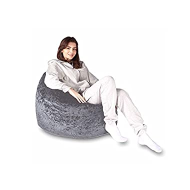 Sky Homes 1 pc. Velvet small size Grey color bean bag sofa chair (without beans)