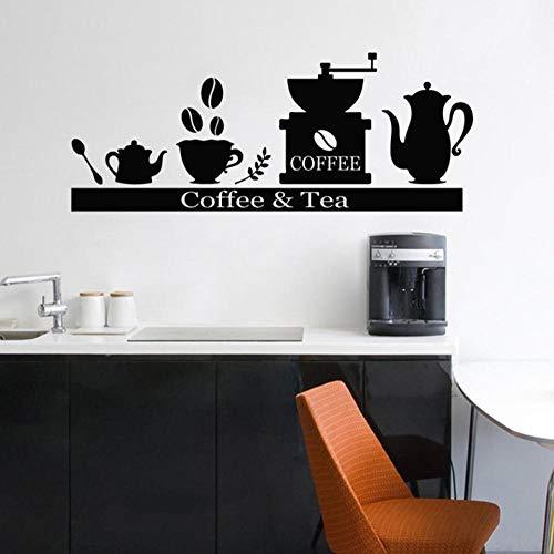 GVFTG Vinyl muursticker stickers koffiemachine theekophouder plank keuken woonkamer decoratie Art Poster 57X25cm
