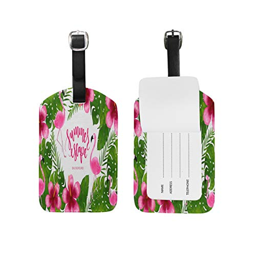 Tropical Plants Flamingos Luggage Tag Travel ID Bag Label Leather Tags for Baggage 1 Piece