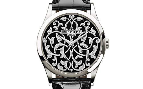 Patek Philippe Calatrava Platinum 5088-100P-001 with Handengraved, Black Enamel dial