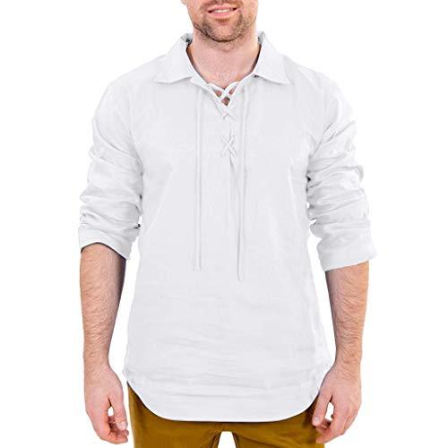 TUDUZ Camisetas Hombre Manga Larga Color Slido Camisas Algodn Y Lino Tops Cordn Ropa Retro (Blanco, M)