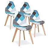Uderkiny Juego de 4 sillas Silla de Comedor de Retazos Silla de Estilo nórdico para Cocina Comedor Sala de Estar y Restaurante (Azul)