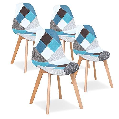 Uderkiny Set di 4 sedie Sedia da Pranzo Patchwork Sedia in Stile Nordico per Cucina Sala da Pranzo Soggiorno e Ristorante (Blu)