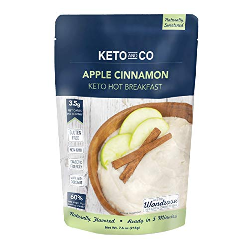 Keto Hot Breakfast by Keto and Co | Apple Cinnamon Flavor | Just 3.5 Net Carbs Per Serving | Gluten Free, Low Carb, No Added Sugar, Naturally Sweetened | (8 Servings - Apple Cinnamon)