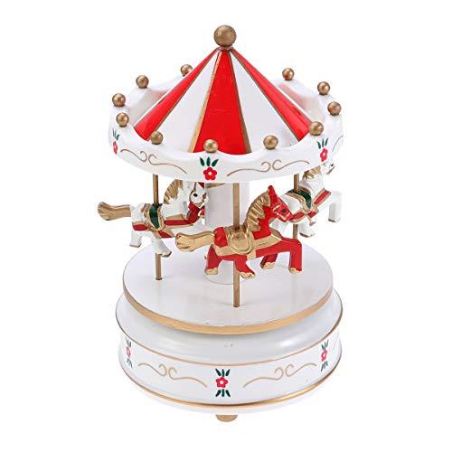 VOSAREA Carrusel de Madera Caja de música Juguete de Madera Decorativo Escritorio Caja Musical Regalos para el cumpleaños de Navidad Día de San Valentín (Rojo)