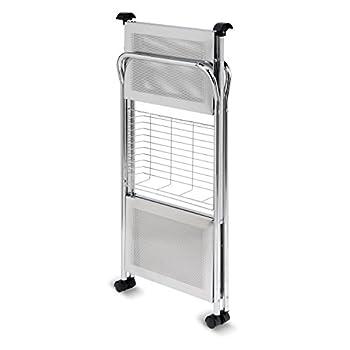 Honey-Can-Do CRT-01703 Deluxe Foldable Push Cart 2-Tier Chrome