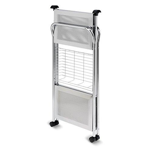 Honey-Can-Do CRT-01703 Deluxe Foldable Push Cart, 2-Tier, Chrome