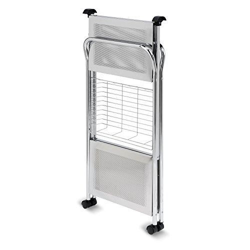 Honey-Can-Do CRT-01703 Deluxe Foldable Push Cart, 2-Tier, Chrome