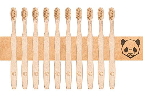 bambusliebe 10x Bambus-Zahnbürste mit harten Borsten aus Bambus-Viskose - Nachhaltig, umweltbewusst, antibakteriell, vegan, abbaubar - Für Erwachsene - Zero Waste