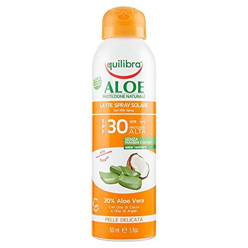 Equilibra Protector Solar, Spray Leche Solar Spf 30 con Aloe Vera, Aceite de Coco y de Argán y Vitamina E, Protege de las Quemaduras Solares para un Bronceado Saludable, Resistente al Agua, 150 ml