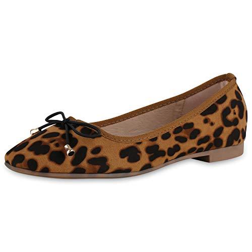SCARPE VITA Damen Klassische Ballerinas Animal Print Schuhe Slip On Freizeitschuhe Schleife Slippers Schlupfschuhe 183142 Hellbraun Leo 37
