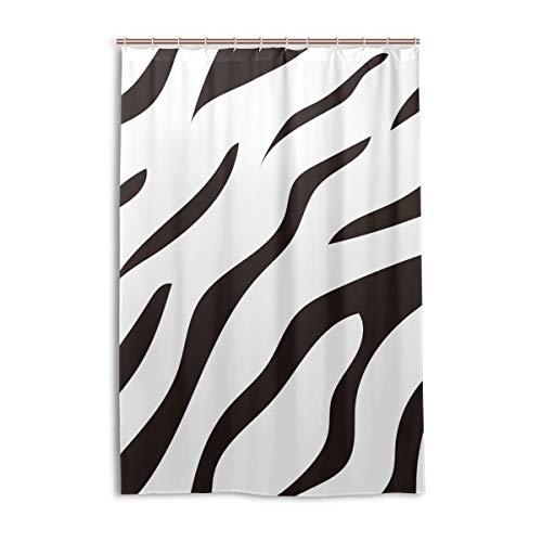 FANTAZIO Duschvorhang, Tiger-Streifen-Muster, Polyester, mit dicken C-förmigen Haken, wasserdicht, 1 Stück, 122 x 183 cm